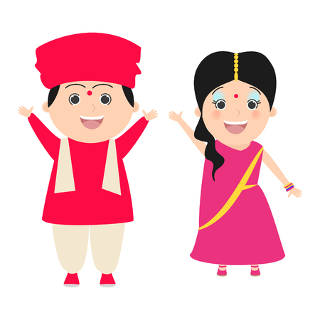 dressing up party: Boy and girl in Indian costumes. Carnival. Vector cartoon Illustration
