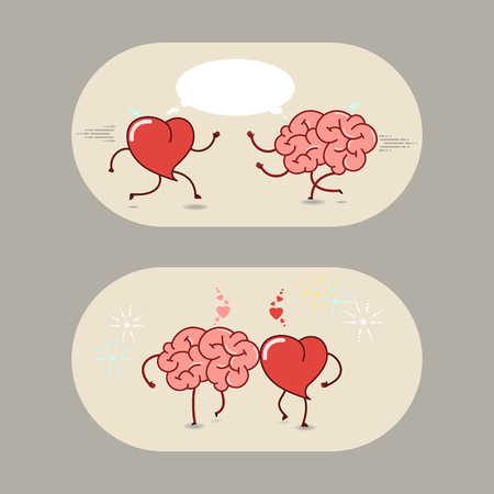 brain works: The brain and the heart of love and friendship. A set of vector cartoon icons.