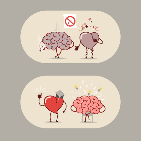 brain works: The brain and heart set. Smoking is bad, a heart attack. The brain is looking for answers but the heart knows. Vector cartoon icons Illustration