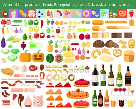 pita bread: set of flat food. Fruits and vegetables. Cake and bread. Meat and alcohol