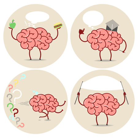 brain works: Brain Cartoon different actions. Choice, scientist, running, banner. Vector isolated set of images