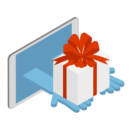 Delivery of goods on the Internet. Delivery of gifts. Vector isometric