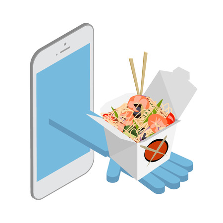 Delivery over the phone. Asian Food. Noodles wok. Vector isometric