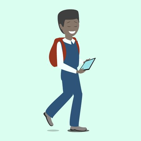 Boy student holding a tablet in hands. New technologies. Vector Illustration