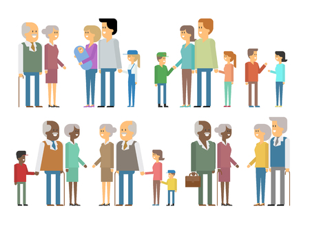mixed family: The family - grandfather, grandmother, mom, dad, kids. Vector materialny design. International mixed