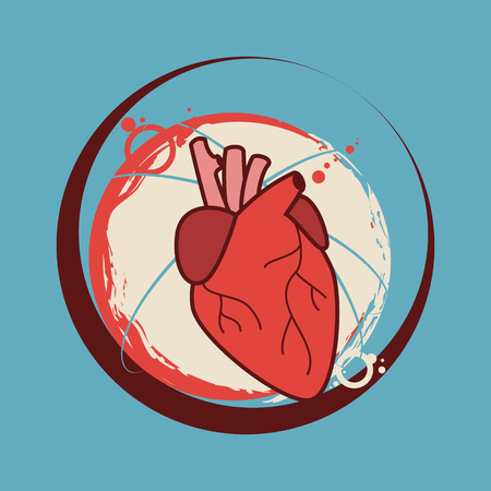 hollow body: Human heart sticker vector illustration Illustration