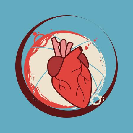 Human heart sticker vector illustration Illustration