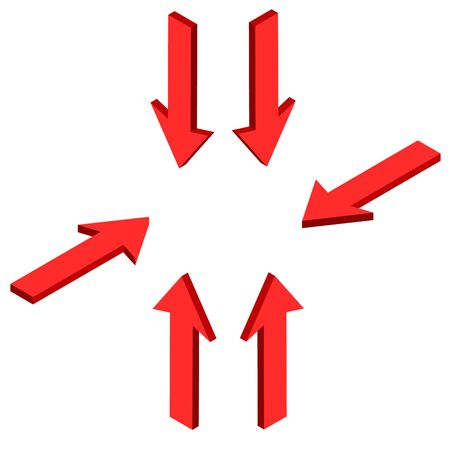 different directions: The red arrow in different directions. Pointing in the center. Vector isometric