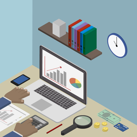 Workplace accountant, financier, businessman. Vector isometric Illustration