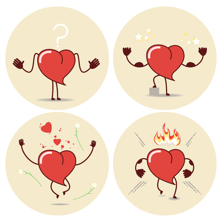 Heart cartoon in different situations. Vector icons, stickers