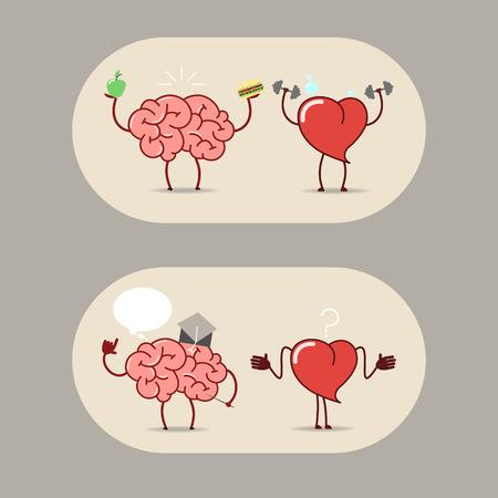 The brain and heart, teamwork. Cartoon sticker brain and heart. Vector