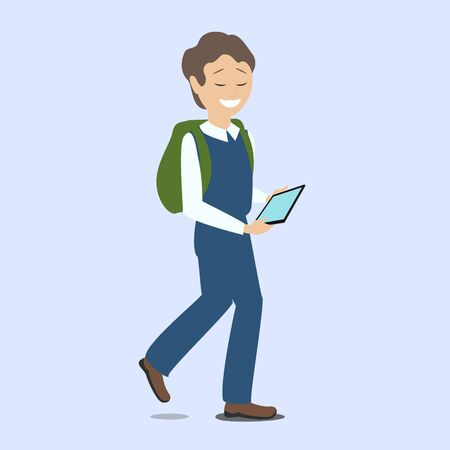 Boy holding a tablet in hands. New technologies. Vector