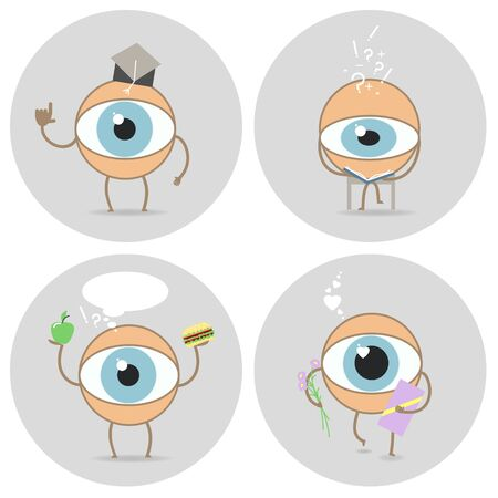 glance: Eyes cartoon icon. Reads, scientist, love glance, food for the eyes. Vector