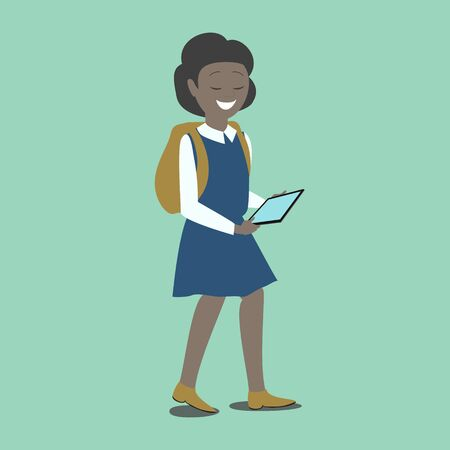 new technologies: Girl  holds in hands of a tablet. New technologies. Vector
