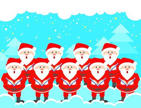 Postcard Christmas choir of Santa Claus. Christmas music greeting. Vector Illustration