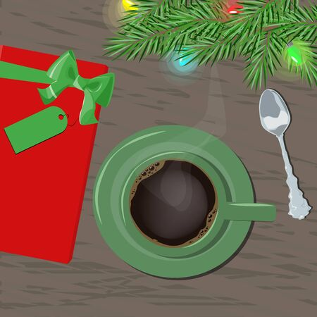 A cup of coffee with a gift on a wooden table with Christmas tree branch. Congratulation. Vector illustration