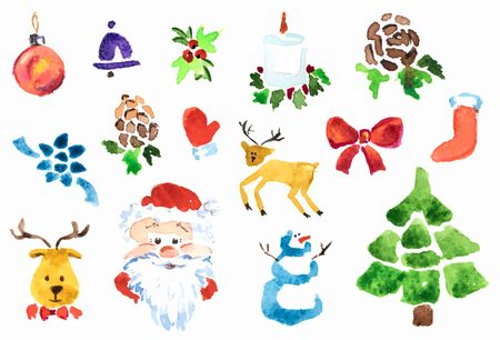 Set of Christmas illustration for decor. Vector watercolor technique