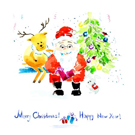 watercolor technique: Christmas card. Santa Claus sitting with a gift in their hands. Vector watercolor technique
