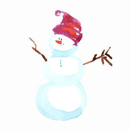watercolor technique: Snowman Christmas. Vector Hand drawing in watercolor technique