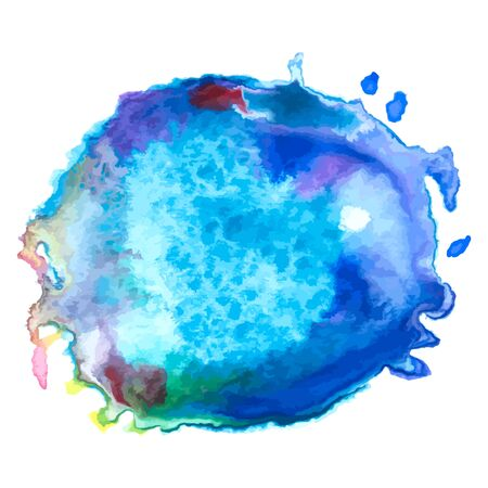 paintball: Colorful abstract watercolor blue stain on a white background, hand-painted watercolor stains template. Vector background for design Illustration