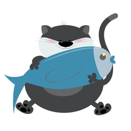 Kat cartoon vis houdt in poten. Ik hou van vissen. Vector illustratie