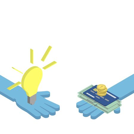 The concept of mutually beneficial exchange. Hand gives an idea of ???? ??the hand gives money. Vector isometric Illustration