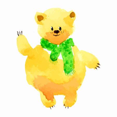 watercolor technique: Bear in scarf, lashet paw. Watercolor technique illustration cartoon Illustration