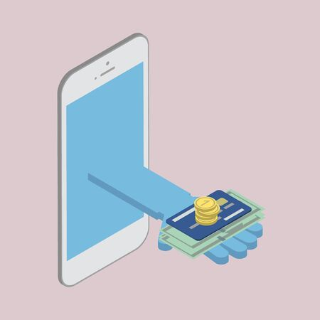 remittances: The concept of cash money on the phone. Remittances, Banking & Finance isometric