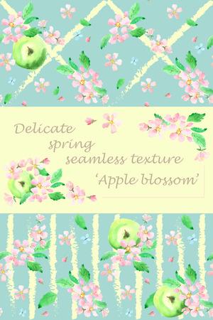 watercolor technique: Apples and apple blossoms. Set background textures. Romantic, tender, wedding seamless texture. watercolor technique Illustration