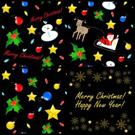 Christmas seamless texture units. Christmas decorations. black background