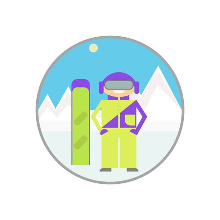 Snowboarding. Snowboarder isolated, winter sports season and the mountains, recreation and tourism. Illustration