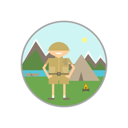 camping site: Summer vacation on the river. Camping, scouts, rafting, orienteering. Illustration