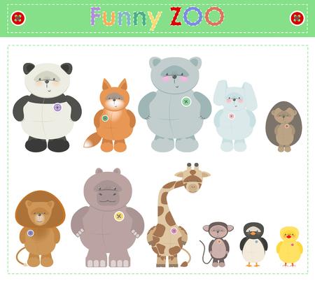 Zoo Animals. Funny plush little animals. Illustration