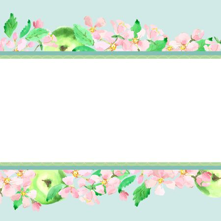 watercolor technique: Apple blossom, apple background. Horizontal stretching. Vector watercolor technique. Illustration