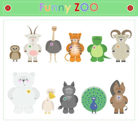 naturalist: Animal Zoo, part three. Funny small plush animals. cartoon Vector Illustration