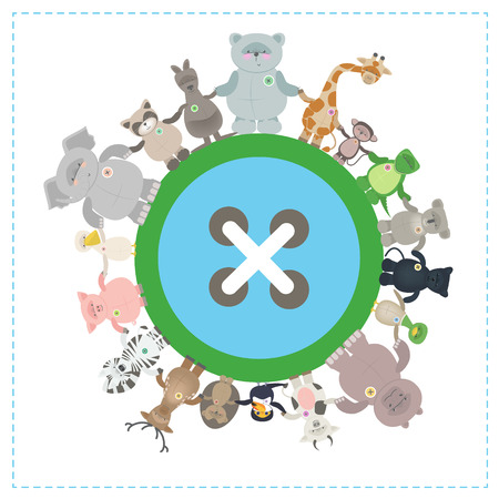 Animals of different species together on the globe. Environmental protection. Vector cartoon, funny little animals