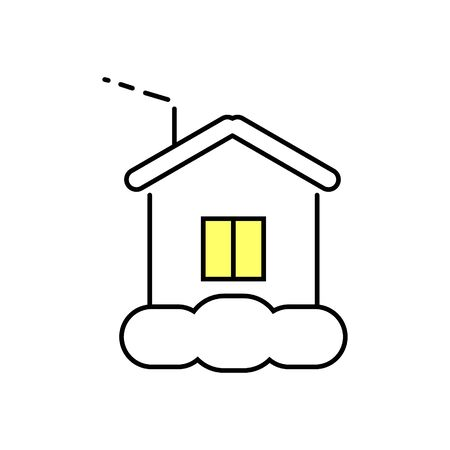 window display: Icon home. Light in the window. House in the snow. Vector Linear flat