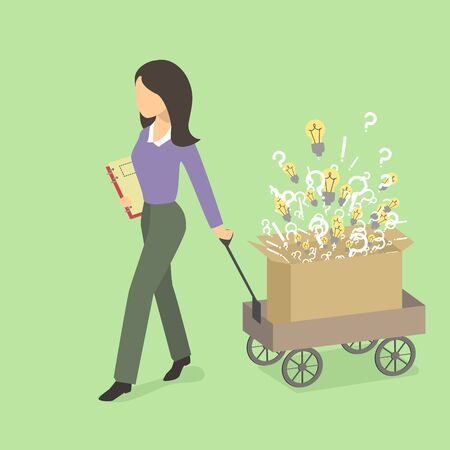 The girl with a cart of ideas, issues and actions. Indispensable employee. Vector illustration