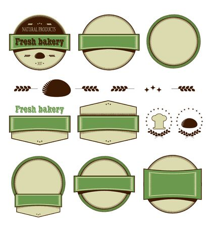 productos naturales: Set of templates for logo. Round, strips, combined, retro design. Groceries, fresh natural products. Vector infographics