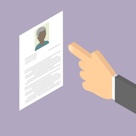 summaries: Search employee. Search for African American old man. Employment of older people. Summary. Vector isometric Illustration