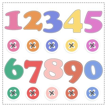 assume: The numbers from 1 to 9, plush mathematics. Vector cartoon Illustration