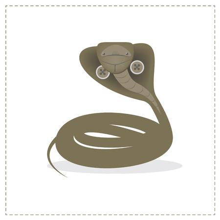 king cobra: Snake, Cobra isolated on white background. The character plush toy. Vector cartoon