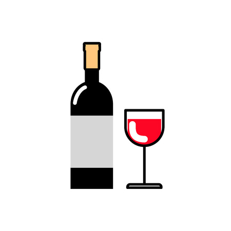 bebidas alcohÓlicas: Bottle of wine and a glass of red wine. Alcoholic beverages. Icon flat line Vectores