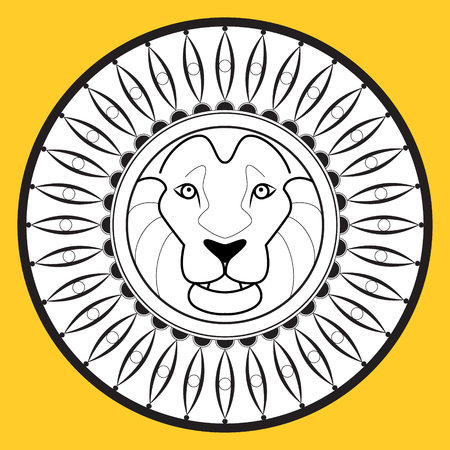 The muzzle of a lion, logo, images on the shield. Vector
