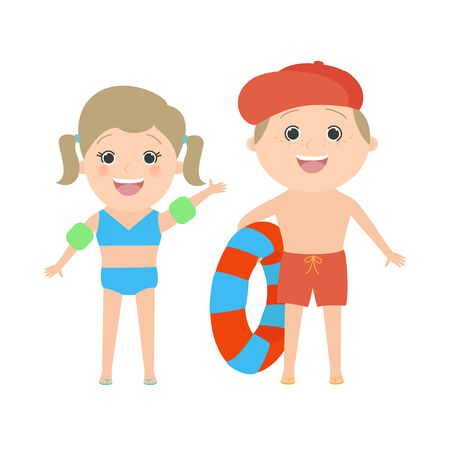 i like my school: Two children dressed in beach isolated on white background. Caucasian boy and girl. Vector cartoon Illustration