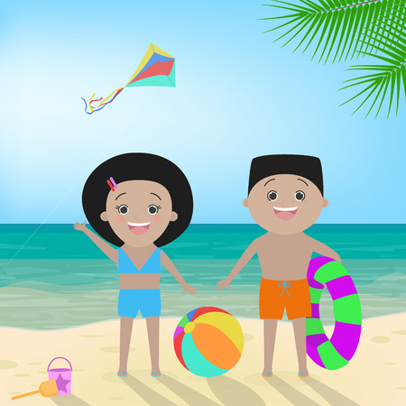 Boy and girl in swimwear on the beach. African American children. Vector cartoon Illustration