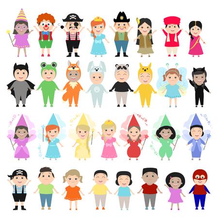 Enfants en costumes de carnaval, ensemble. Enfants de différentes nationalités dans les festivités, costumes théâtraux. Personnages de dessins animés, enfants drôles Vecteurs