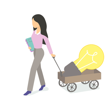 Girl with a book and a big light bulb in a cart, problems and solutions. Indispensable employee. Big ideas, a heavy burden. Vector illustration