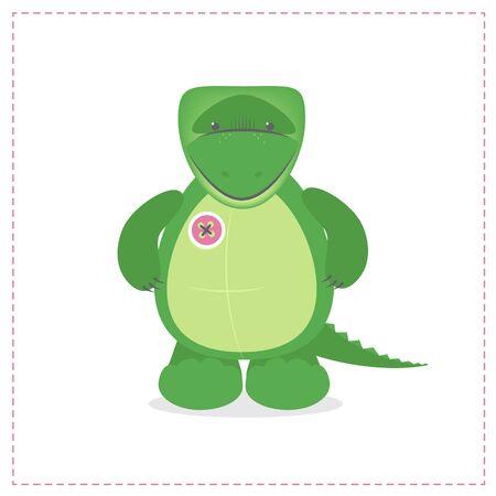 Crocodile cute plush toys. Funny zoo, toy sewn, button. Cartoon vector