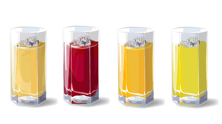 Fruit juices. A set of glasses with fruit juice, apple, cherry, orange and pineapple. Vector Illustration